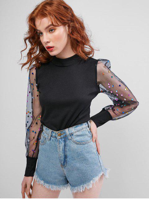 online Polka Dot Mesh Sleeves Mock Neck Blouse - BLACK XL Mobile