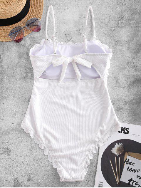 ZAFUL acanalado festoneado Autoamarre una sola pieza del traje de baño - Blanco M Mobile