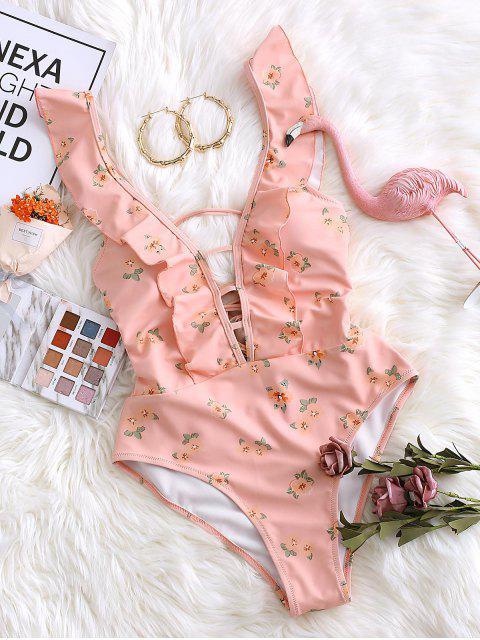 best ZAFUL Flower Ruffle Lace Up One-piece Swimwear - LIGHT PINK S Mobile