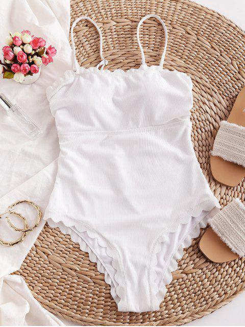 buy ZAFUL Ribbed Scalloped Tie Back One-piece Swimsuit - WHITE XL Mobile