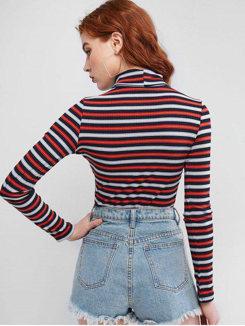 fashion Turtleneck Ribbed Stripes Slim Tee - MULTI L Mobile