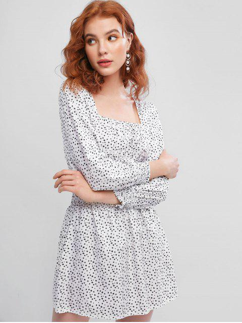 buy Smocked Waist Ditsy Floral Milkmaid Mini Dress - WHITE S Mobile