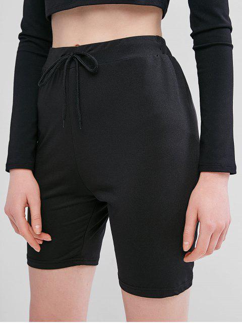 Shorts de Motociclista con Cordones y Color Sólido - Negro S Mobile