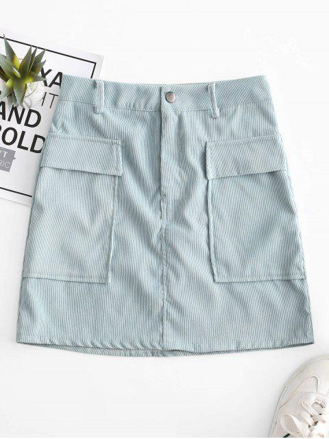 lady Corduroy Zipper Fly Pocket Bodycon Skirt - BLUE M Mobile