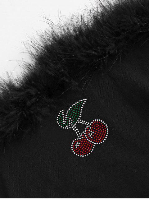 Blusa de Bandeau de Panel de Piel de Imitación - Negro L Mobile