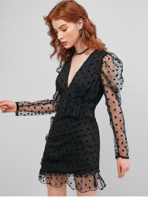 ladies ZAFUL Long Sleeve Polka Dot Mesh Mini Dress - BLACK XL Mobile