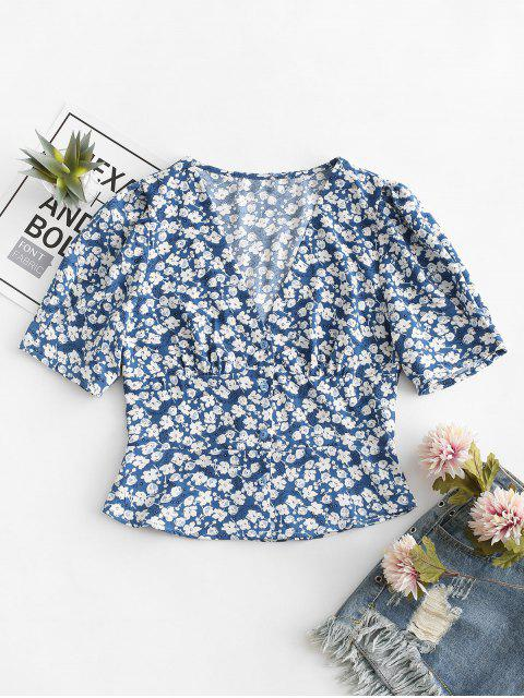 outfits Floral Print Buttoned V Neck Blouse - BLUE S Mobile