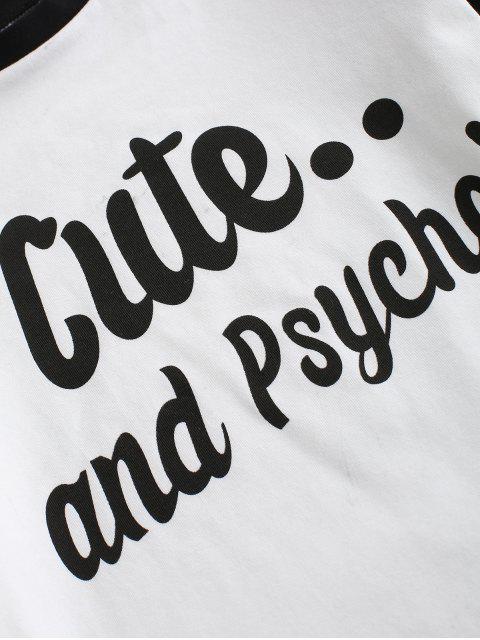 T-shirt Graphique Slogan en Blocs de Couleurs à Manches Raglan - Blanc S Mobile