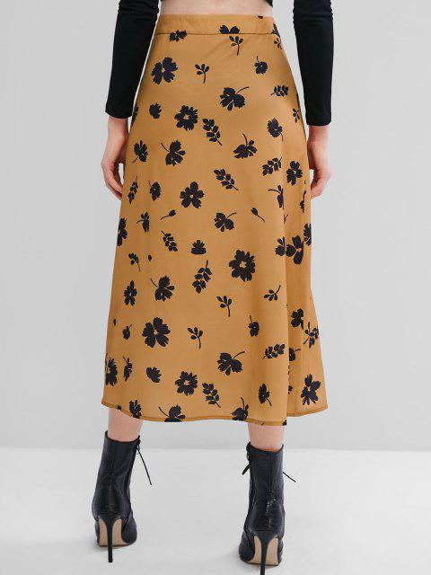 women ZAFUL Flower Button Through Midi Skirt - TIGER ORANGE L Mobile