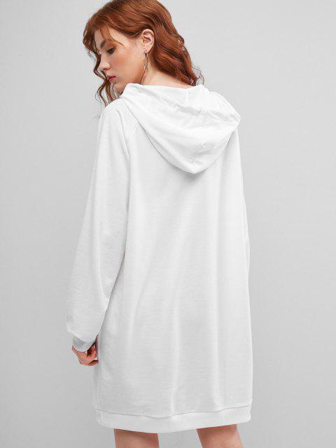 women Drawstring Hooded Letter Graphic Casual Dress - WHITE L Mobile