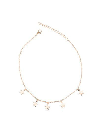 Star Pendant Adjustable Chain Choker Necklace - Gold