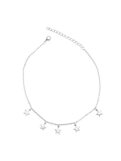 Star Pendant Adjustable Chain Choker Necklace - Silver