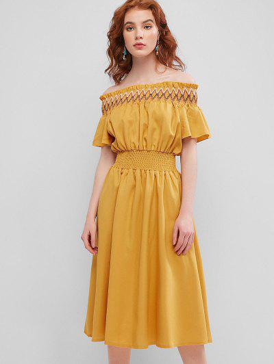 Zaful / Smocked Panel Off Shoulder Midi Dress