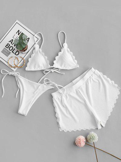 ZAFUL Ribbed Scalloped Three Pieces String Bikini Swimwear - White S