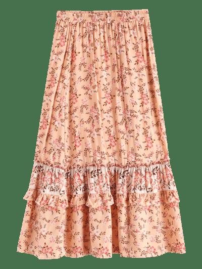 Floral Ruffles Maxi Flared Skirt