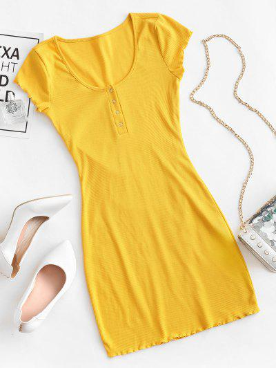 Lettuce Trim Snap Button Ribbed Bodycon Dress - Yellow S
