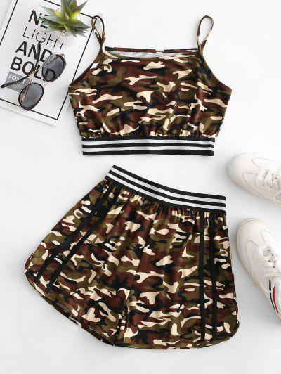 Camo Striped High Waisted Shorts Set - Multi-a Xl