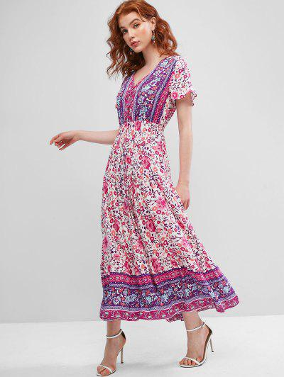 Tie Waist Floral Button Loop Maxi Dress - Multi M