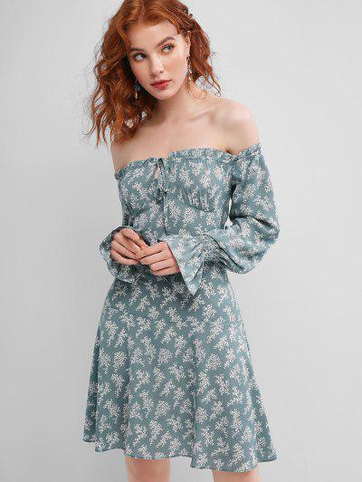 Tie Collar Ditsy Floral Off Shoulder Mini Dress - Green S