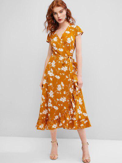 ZAFUL Robe Enveloppée Fleur à Mancherons à Volants - Orange D'or M