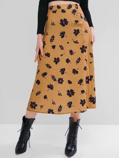 ZAFUL Flower Button Through Midi Skirt - Tiger Orange M