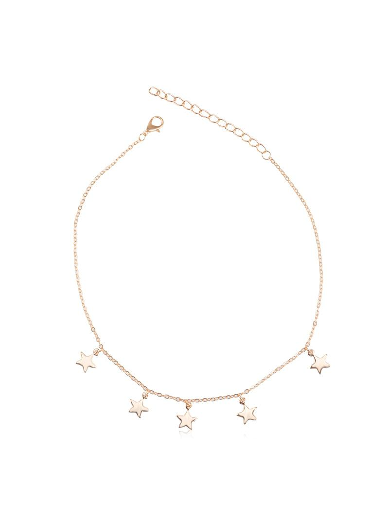 Star Pendant Adjustable Chain Choker Necklace