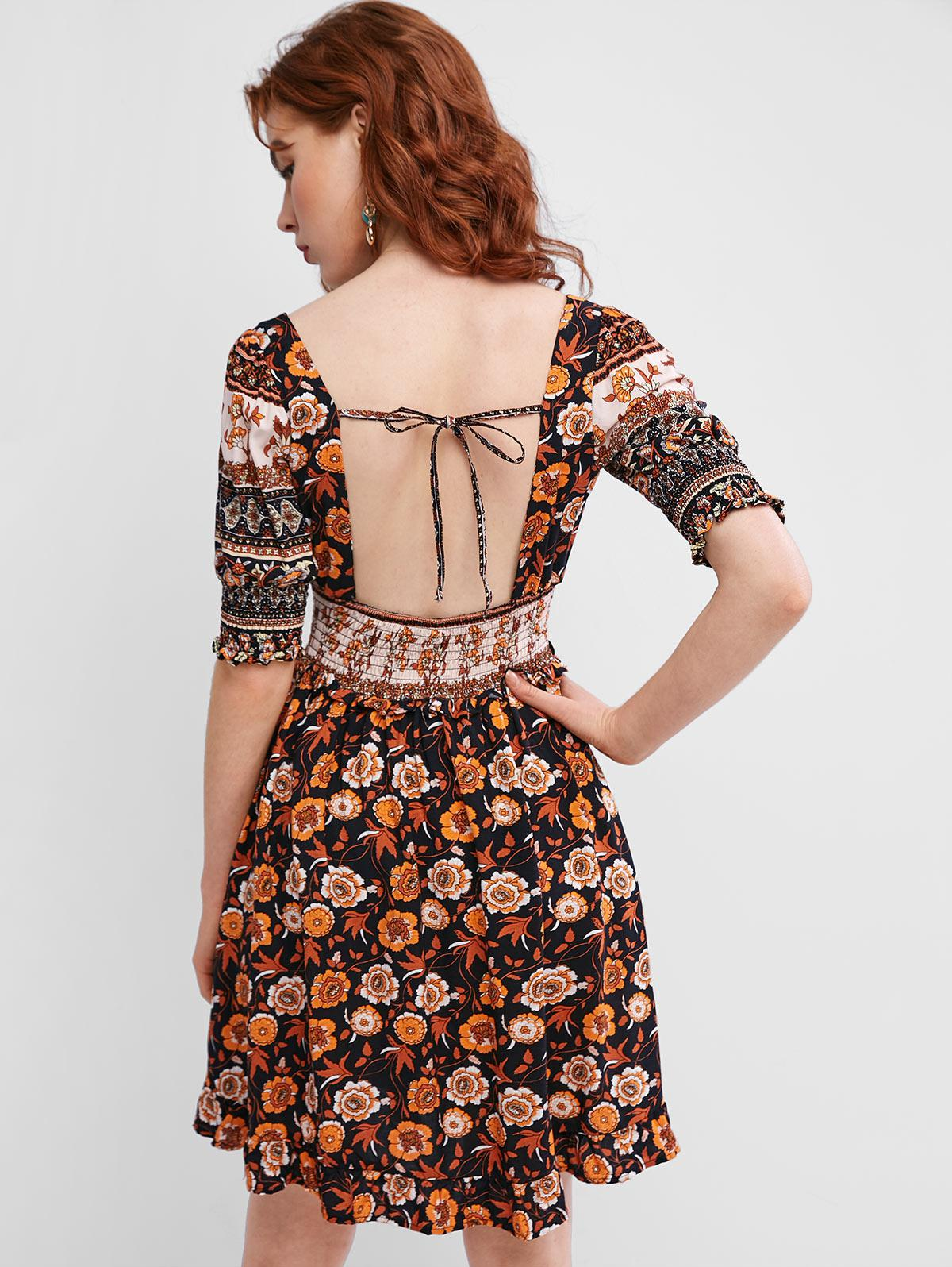 Smocked Open Back Tie Collar Floral Milkmaid Dress