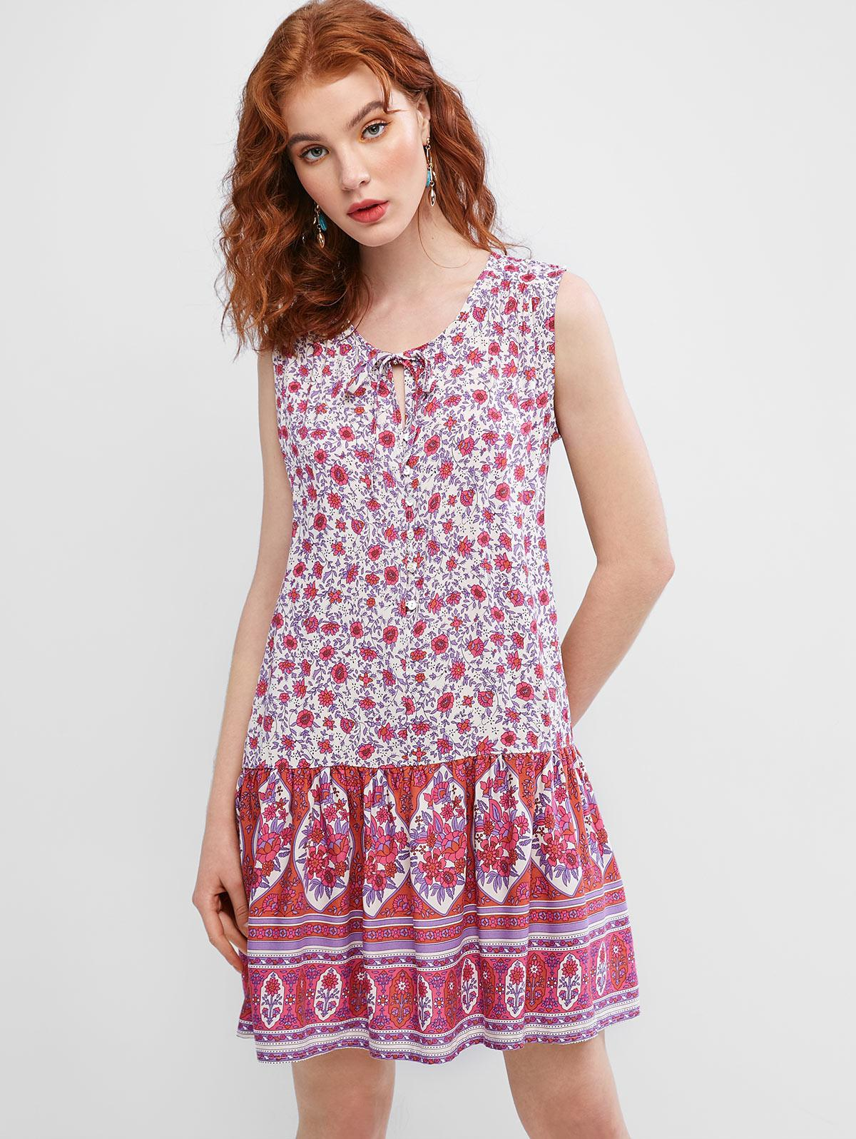 Sleeveless Floral Tie Collar Mini Dress