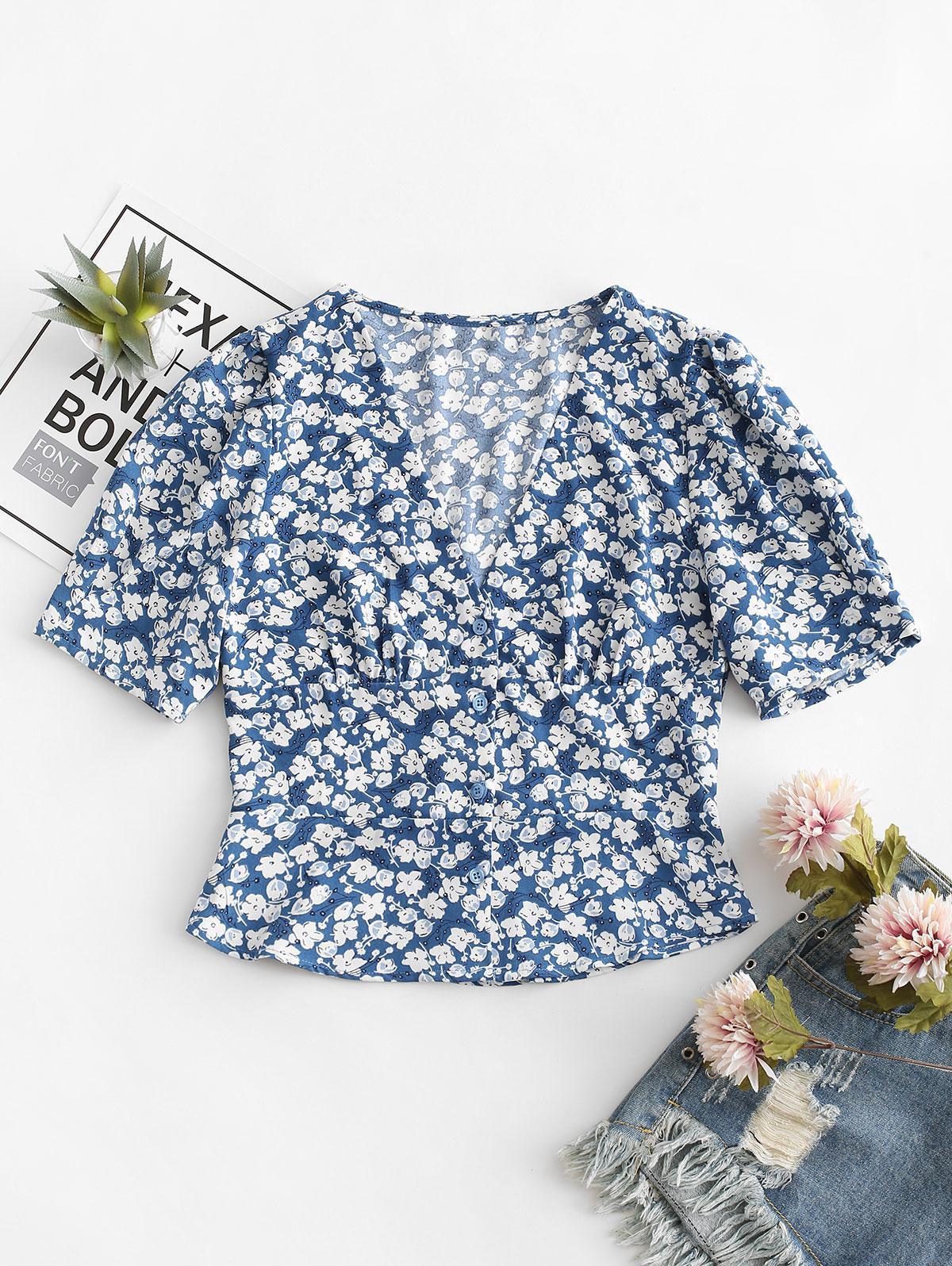 Floral Print Buttoned V Neck Blouse