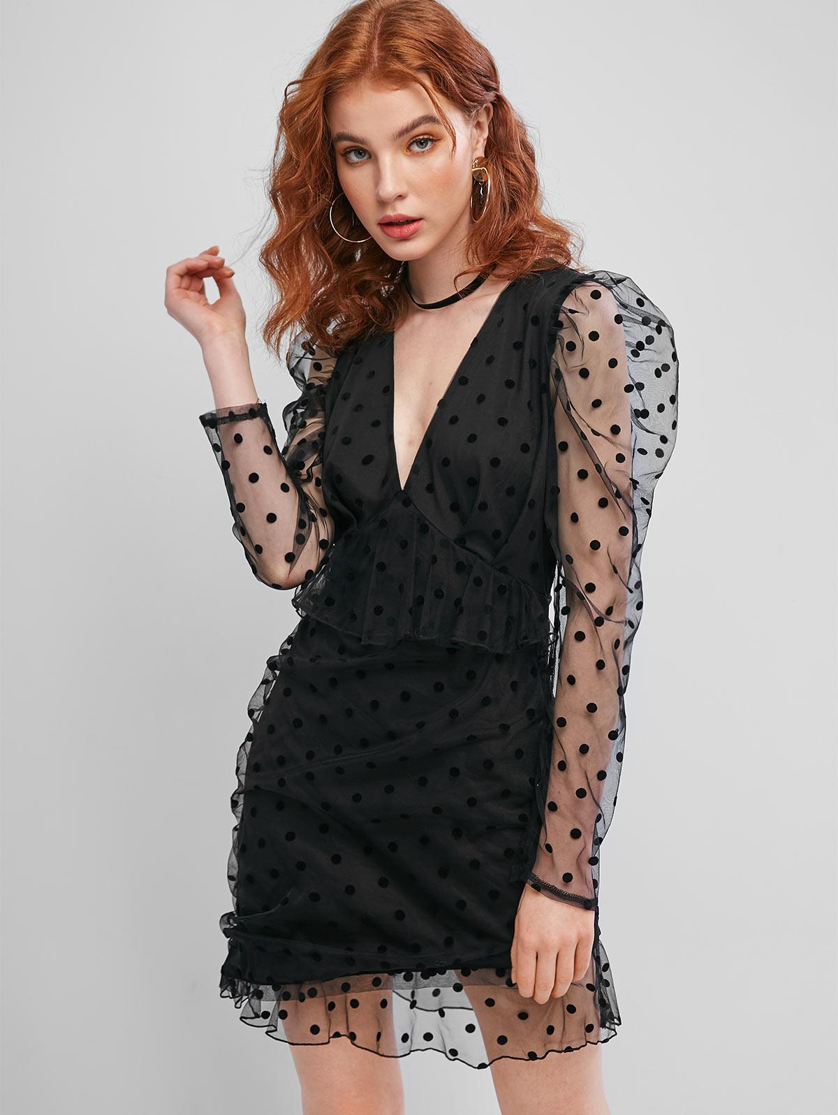 ZAFUL Long Sleeve Polka Dot Mesh Mini Dress фото