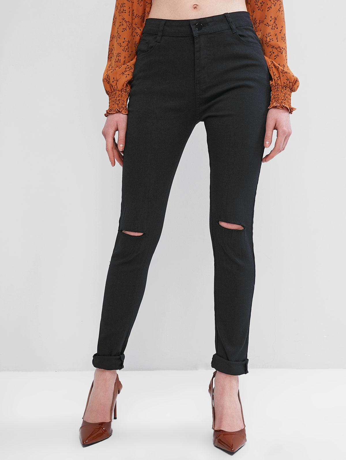 Solid High Waisted Distressed Skinny Pants