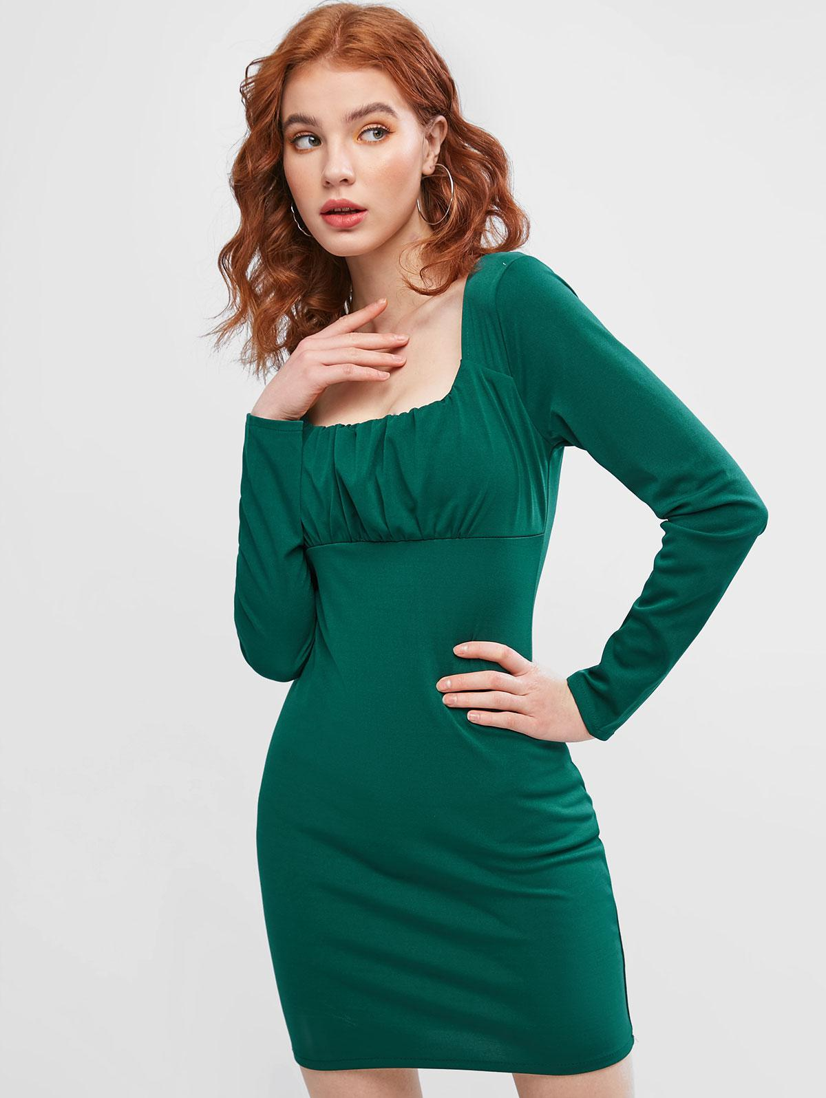 Long Sleeve Ruched Front Bodycon Dress фото