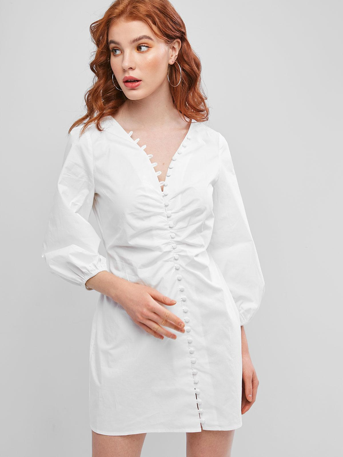 Long Sleeve Button Loop Mini Dress фото