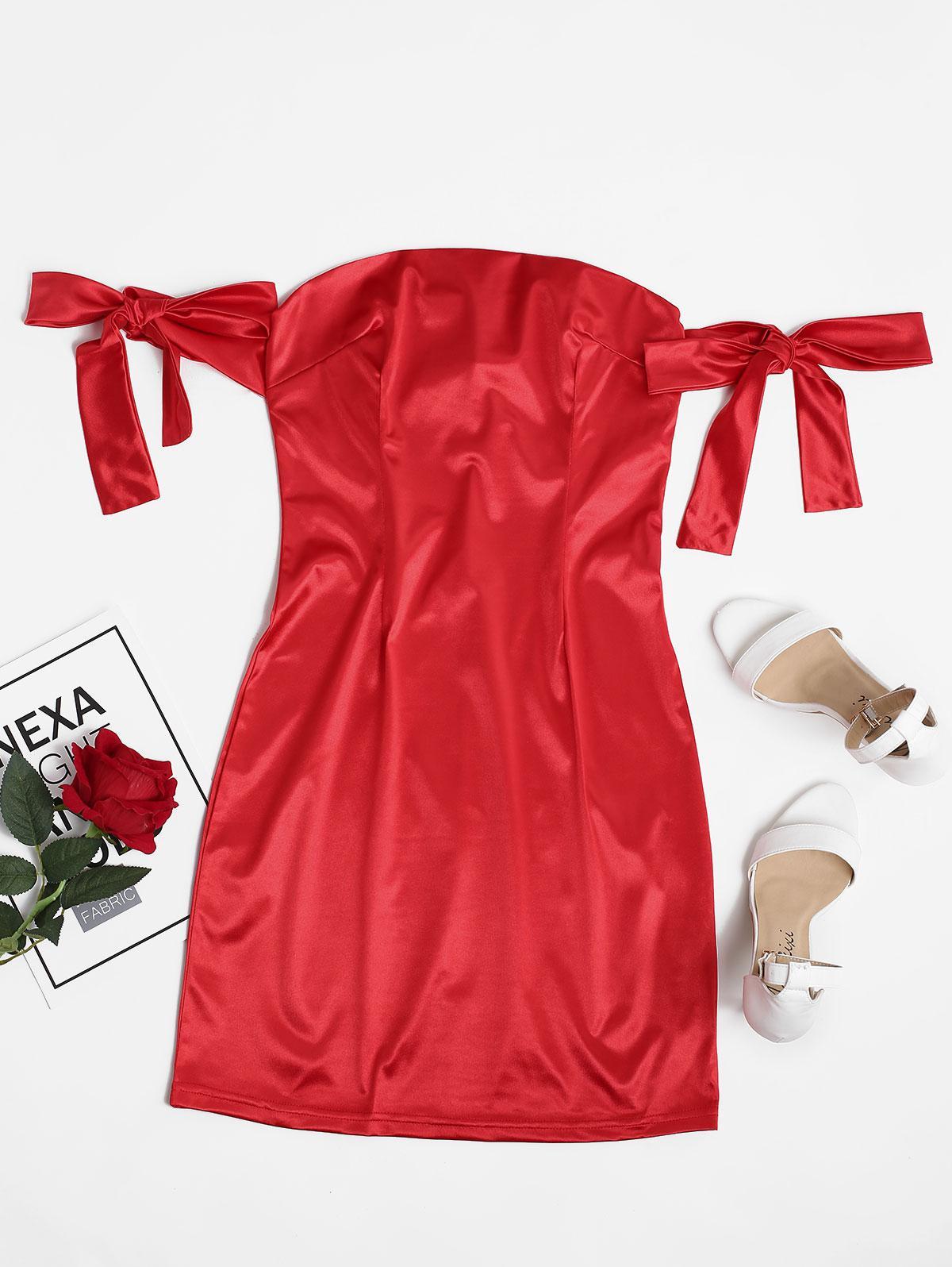 Tie Sleeve Silky Off Shoulder Mini Dress