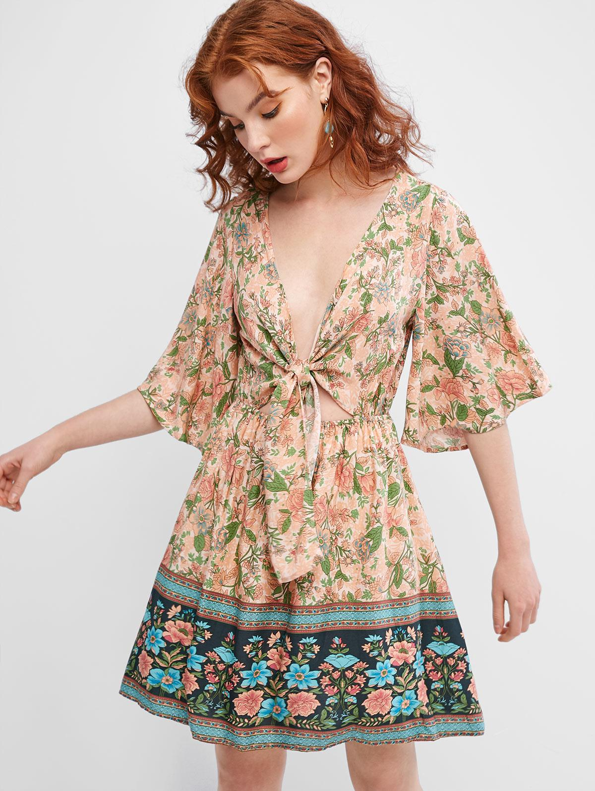 Floral Print Tie Front A Line Dress
