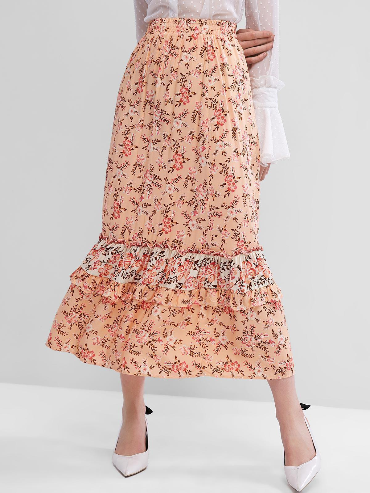 Floral Ruffles Maxi Flared Skirt