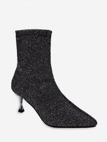 أحذية كعب الخنجر سباركلي منتصف الساق - اللون الرمادي الاتحاد الأوروبي 36