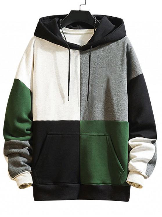 buy Color Blocking Panel Fleece Hoodie - LIGHT GRAY 2XL