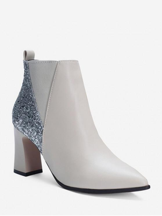 shops Chunky Heel Sequined PU Leather Ankle Boots - WHITE EU 35