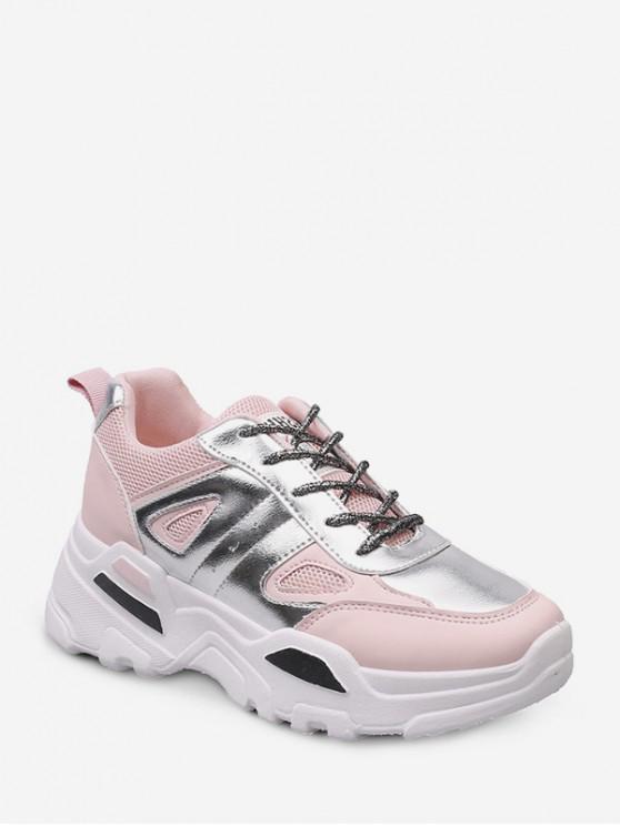 shop Metallic Panel Low Top Outdoor Dad Sneakers - LIGHT PINK EU 40