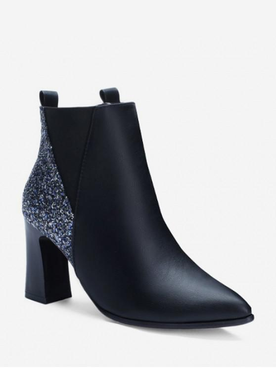 fancy Chunky Heel Sequined PU Leather Ankle Boots - BLACK EU 36