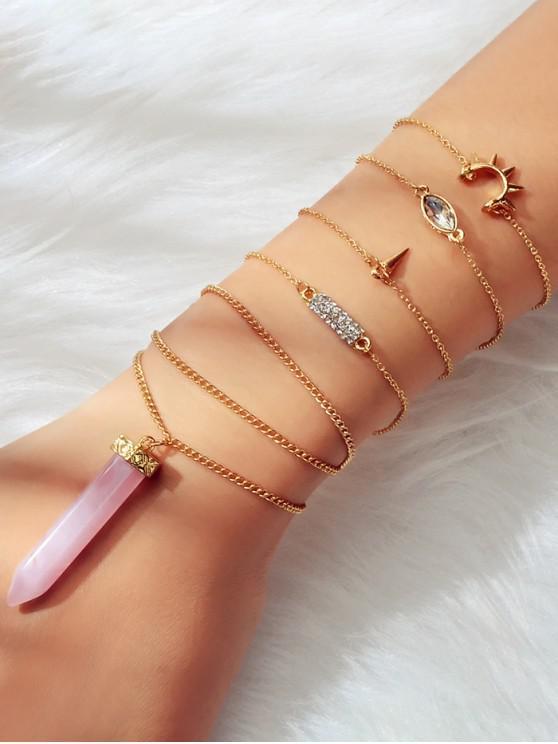 lady 5 Piece Faux Crystal Point Rhinestone Chain Bracelets Set - GOLD