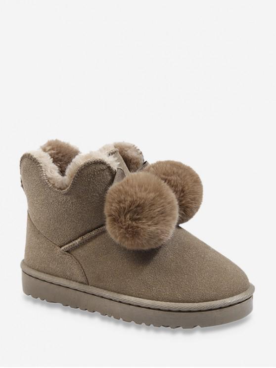 best Faux Fur Pom Pom Suede Snow Boots - BEE YELLOW EU 39