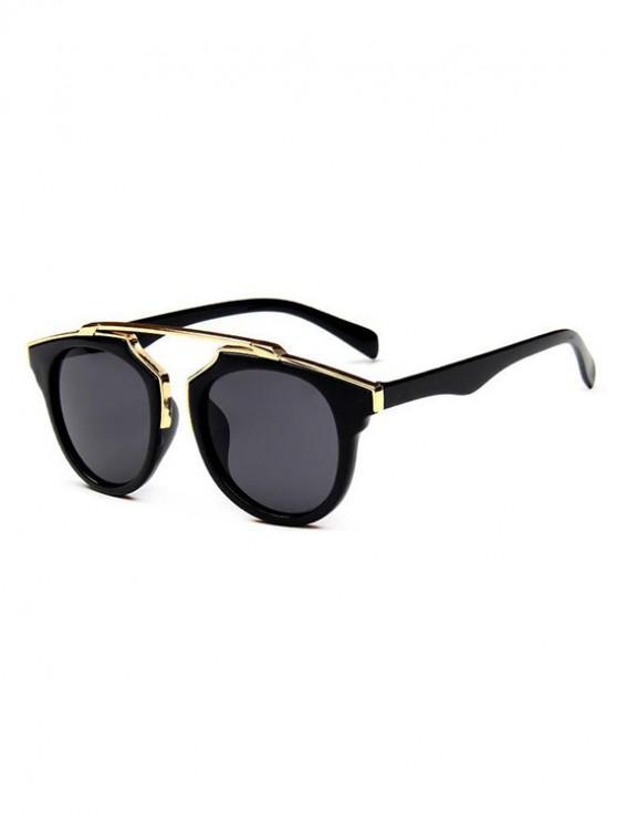 sale Bar Round Anti UV Retro Sunglasses - BLACK