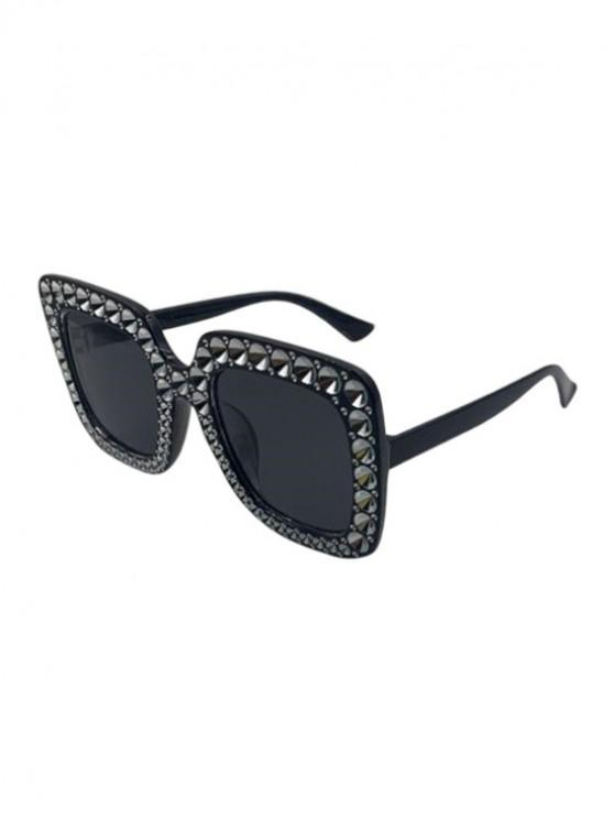 affordable Oversized Square Rhinestone Sunglasses - BLACK