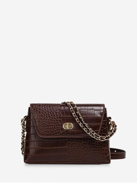 best Dark Pattern Leather Embossed Chain Shoulder Bag - COFFEE