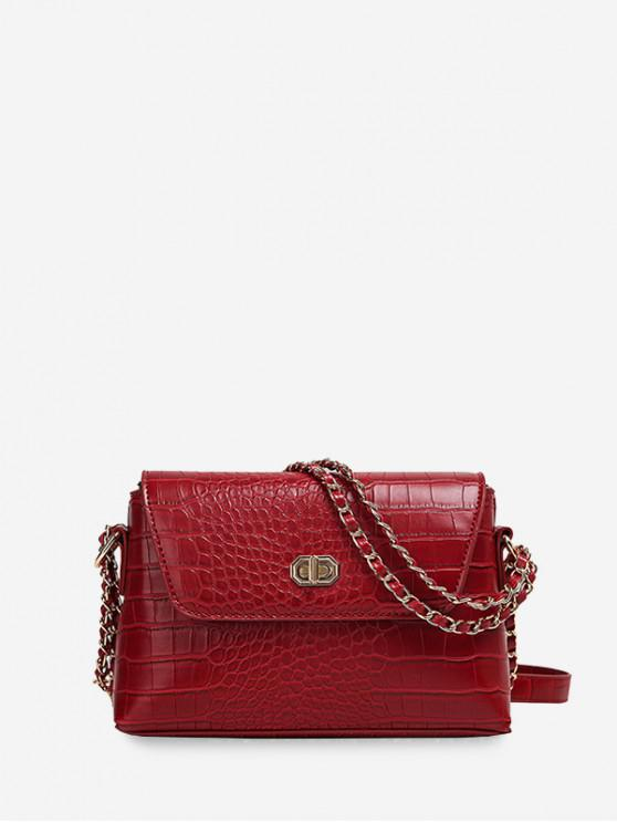 outfit Dark Pattern Leather Embossed Chain Shoulder Bag - RED WINE