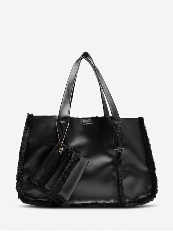 womens Furry Solid Simple Tote Bag - BLACK