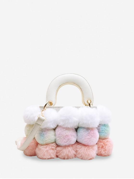 new Crossbody Furry Balls Shoulder Bag - WHITE