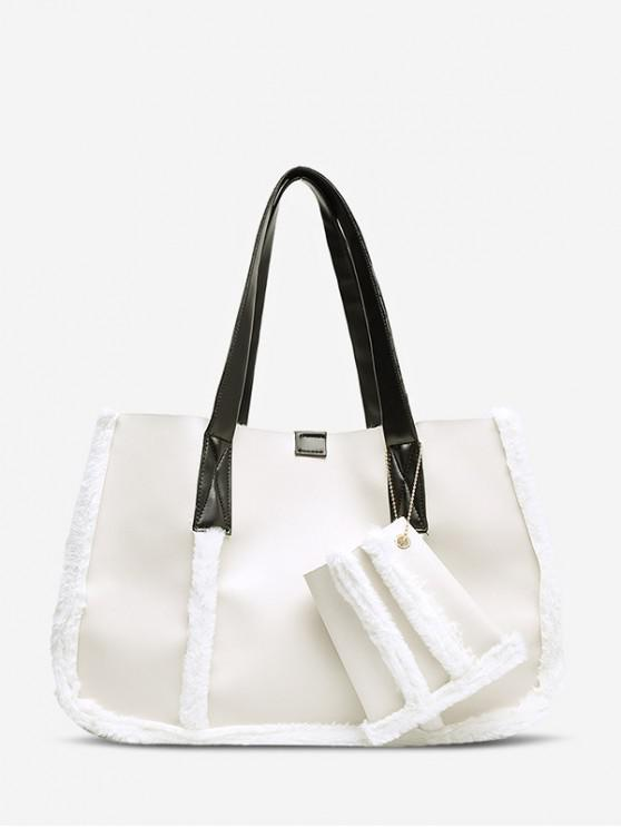 outfit Furry Solid Simple Tote Bag - WHITE